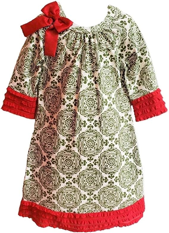 Details about  /COUNTING DAISIES RARE EDITIONS NWT 12M or 24M Red Green Pom Pom Christmas Dress