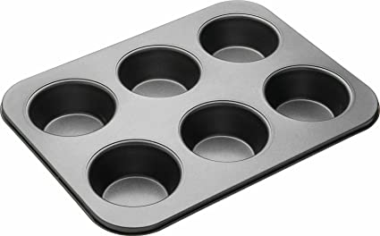 Bulfyss Carbon Steel Cup Cake Tray for 6 Muffins Bakeware(Black)