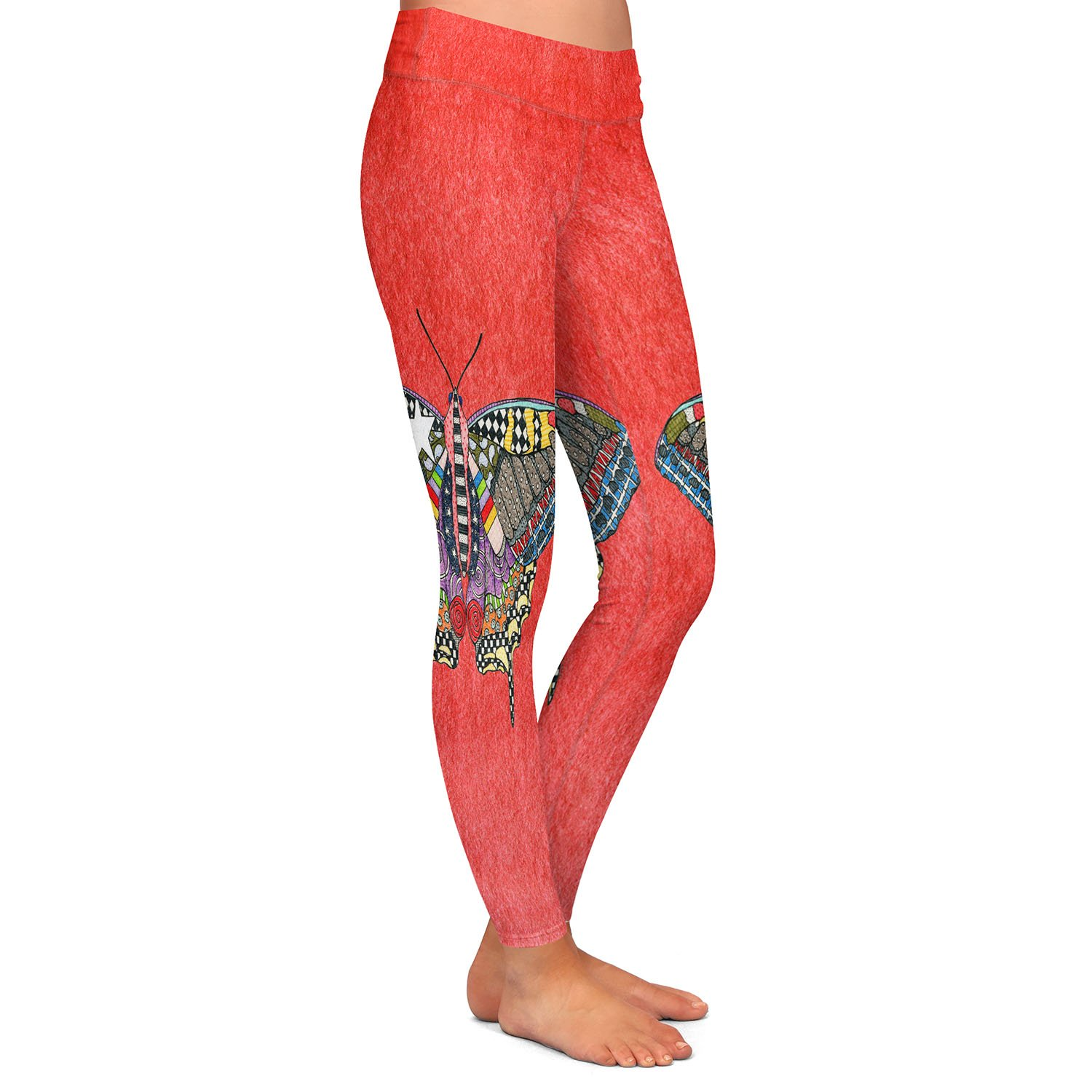 Athletic Yoga Leggings from DiaNoche Designs by Marley Ungaro Butterfly Watermelon