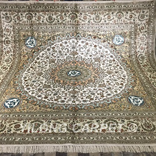 Yilong 9'x9' Large Square Vintage Persian Area Rugs Classic Oriental Medallion with Rabbits Design Handmade Carpet Gift Rabbit Medallions