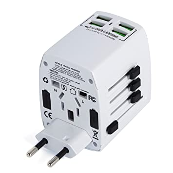 34a97921b3917 MLPC Accessories Worldwide Universal International Travel Adapter With 4  USB Smart Charging Ports (White)