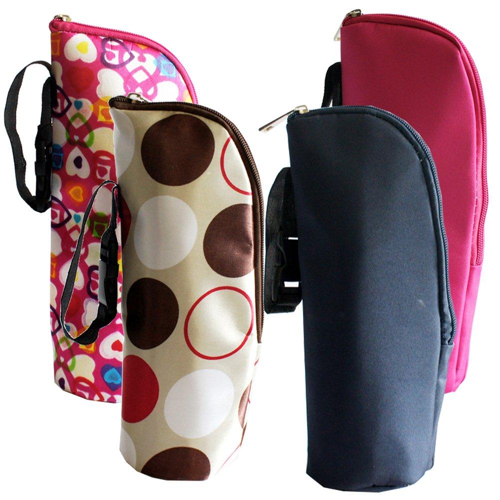 iSuperb 2 Pack Baby Bottle Tote Bags Nursing Bottle Cooler Warmer Insulated Bag for Travel Stroller 3.1x3.1x9.5inch (Floral Print) 001