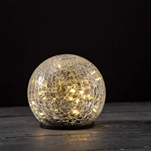 Solar Gazing Ball Light - 5 Inch Medium Globe, Waterproof for Outdoor Use, Crackle Glass, Warm White LED Fairy Lights, Dusk to Dawn Timer, Garden/Pathway Decoration - Battery Included