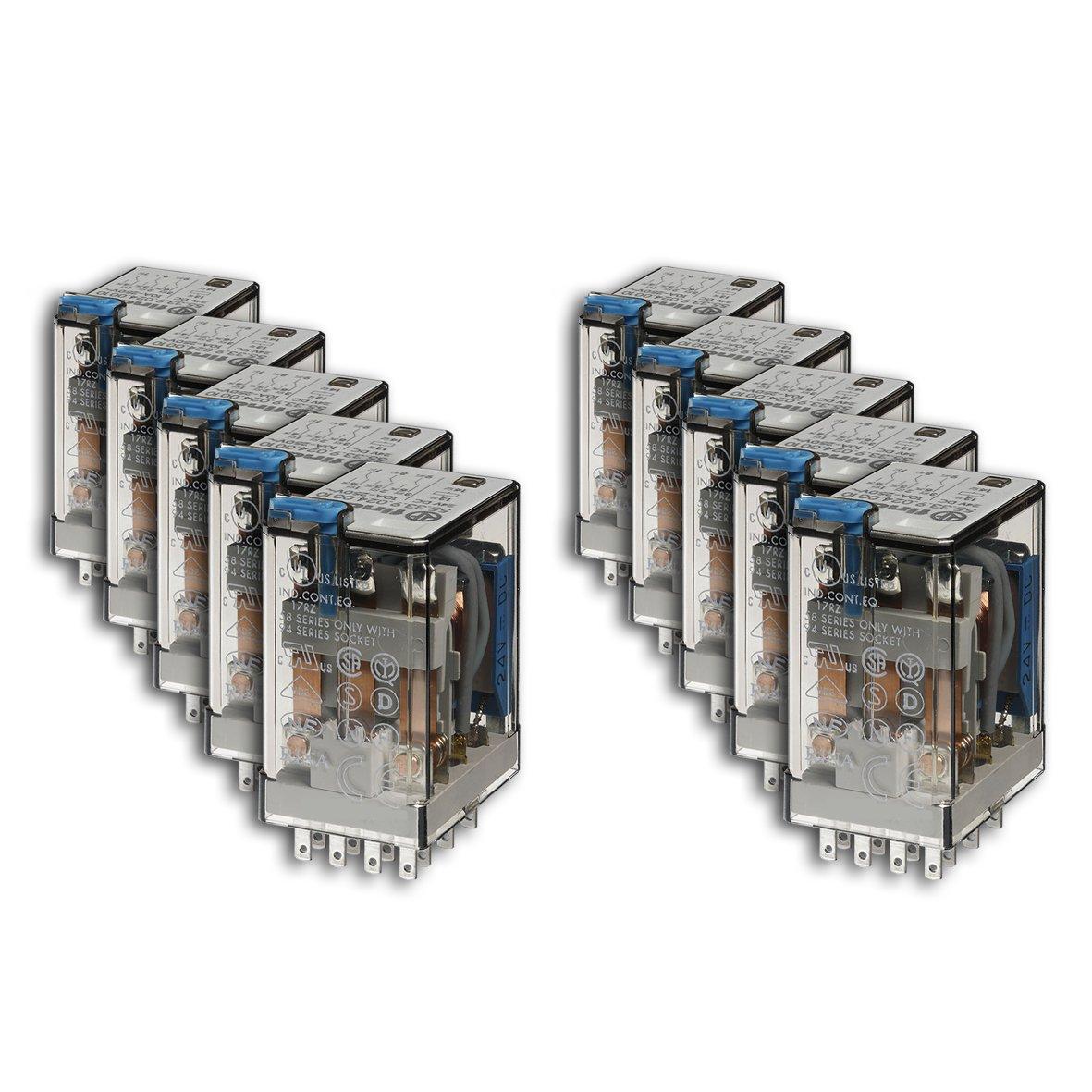 Finder 553490480040 Relais embrochable 4RT 7 A 48 VDC Bouton test/Indicateur mé canique en lot de 10 unité s