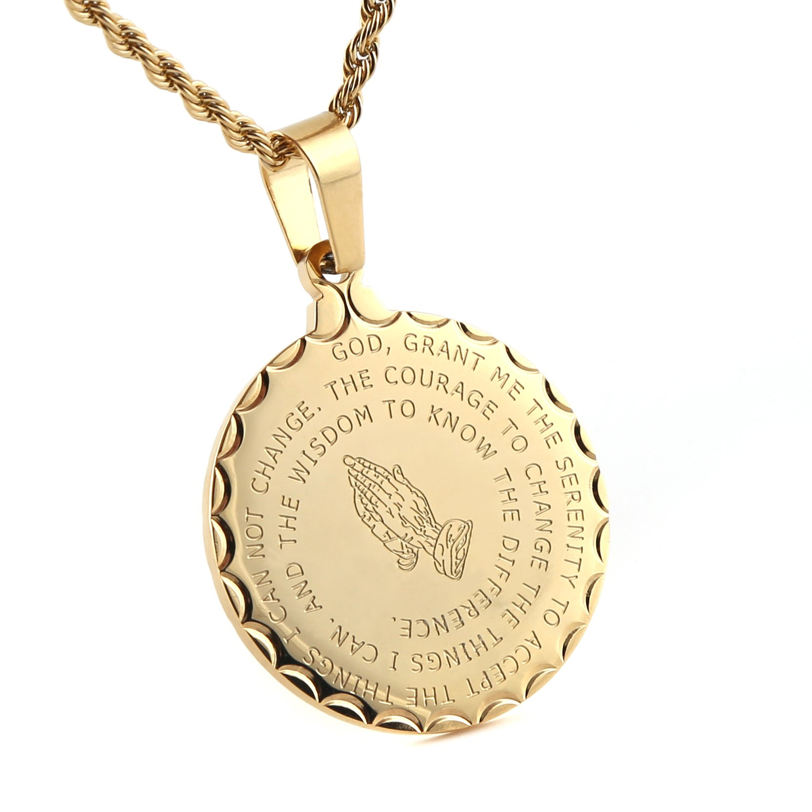 HZMAN Bible Verse Prayer Necklace Christian Jewelry Gold Stainless Steel Praying Hands Coin Medal Pendant (Gold)