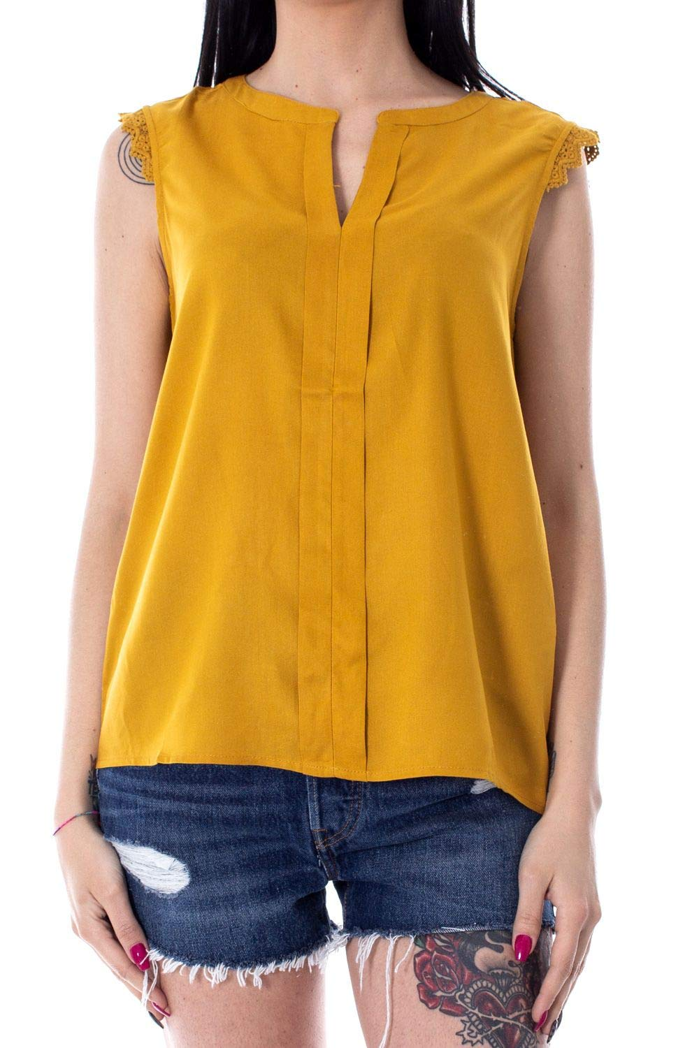 Only Women's 15157656YELLOW Yellow Viscose Tank Top