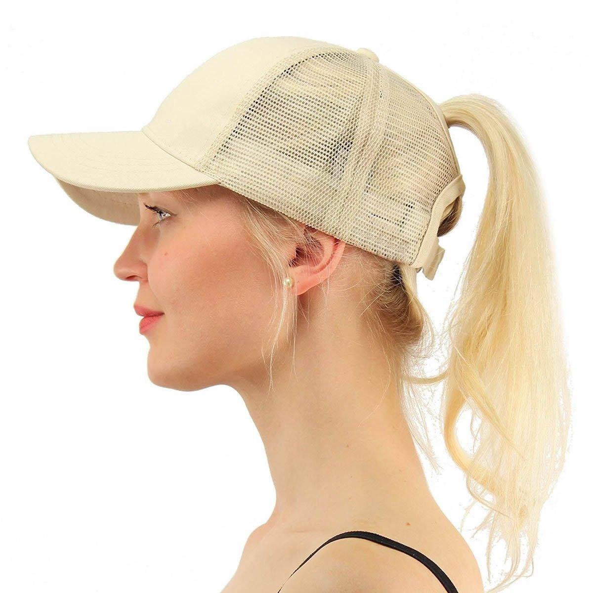 energi8 _ ZQ 1pcs高夏のponycap Messy調節可能メッシュベージュTrucker野球ポニーテールSun Hat   B07CHX9D1K