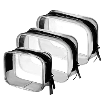 568492a7bdf0 BBTO 3 Pieces PVC Travel Toiletry Bag Cosmetic Bags Organizers Makeup Bags  with Zipper for Men s