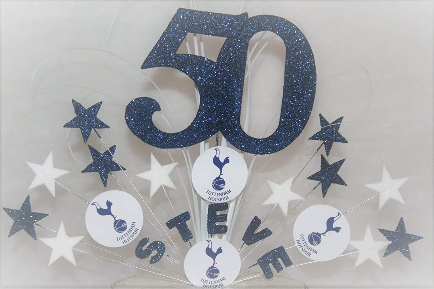 Tottenham Football Any Team Cake Topper Cake Decoration personalised stars on wires 6th 7th 8th 9th 10th 11th any age any colour 005