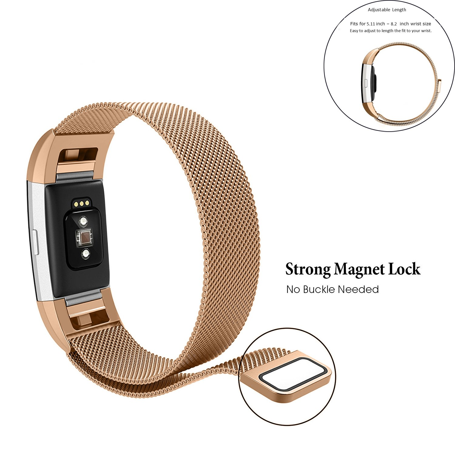 For Fitbit Charge 2 Band, Moobom Milanese Loop Stainless Steel Smartwatch Starp with Magnet Lock for Fitbit Charge 2 Replacement Wristbands (Large)