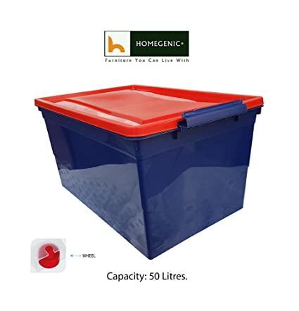 Homegenic Nilkamal Stackable Plastic Storage Box 50 Ltr With Wheels