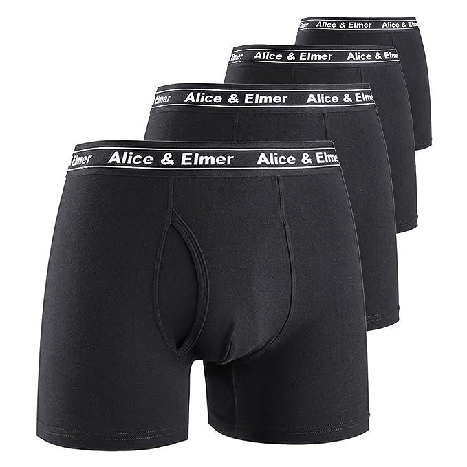 Alice & Elmer Hombre Ropa Interior Bóxers Ajustados Básico para Hombre, Pack de 4,