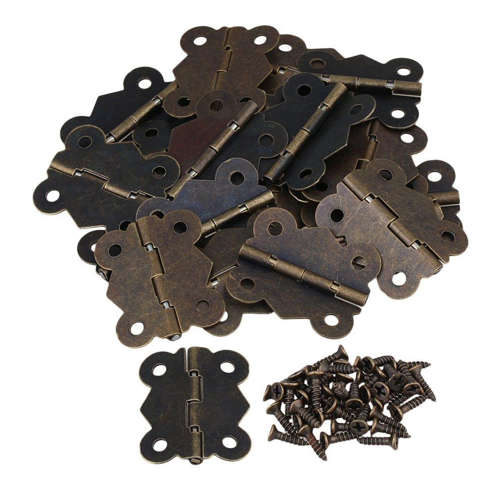 BQLZR 4 cm Vintage mariposa de bronce antiguo para puerta de armario bisagras de armario de 20
