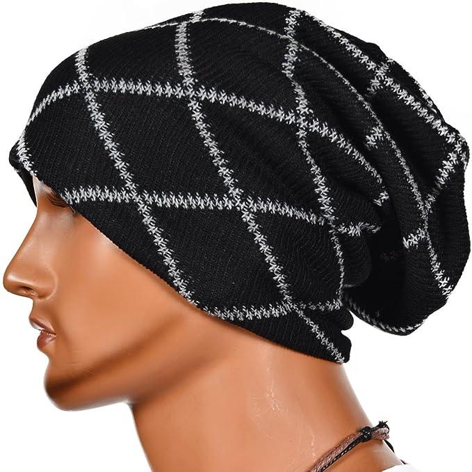 Kafeimali Men s Gridding Skull Winter Hat Knit Crochet Snowboard Hat Cable  Knit Beanie Caps (Black ecb7fdcbd9b