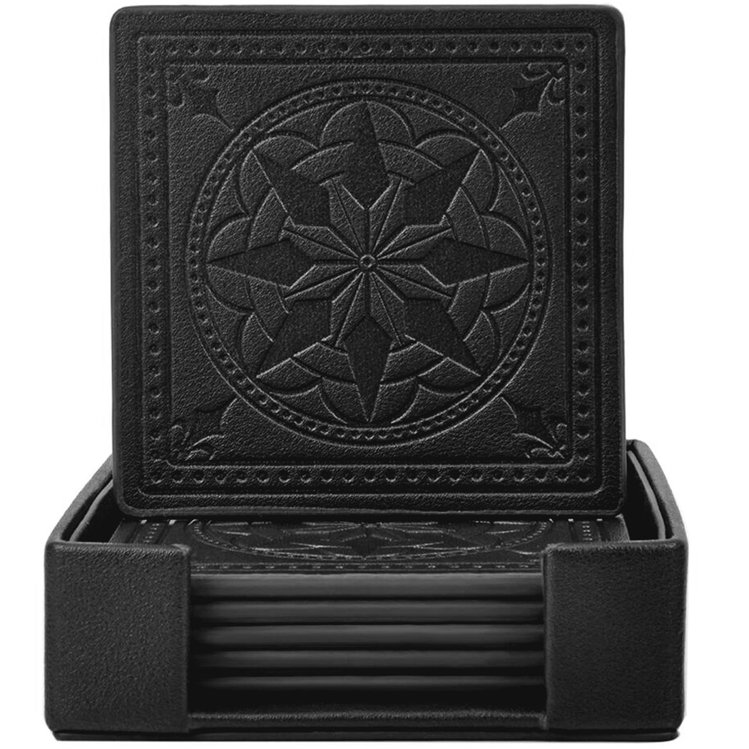 Drink Coasters,365Park PU Leather Coasters Set of 6 with Holder for Drinks Glasses-Functional and Decorative,Coffee Z003*Coffee