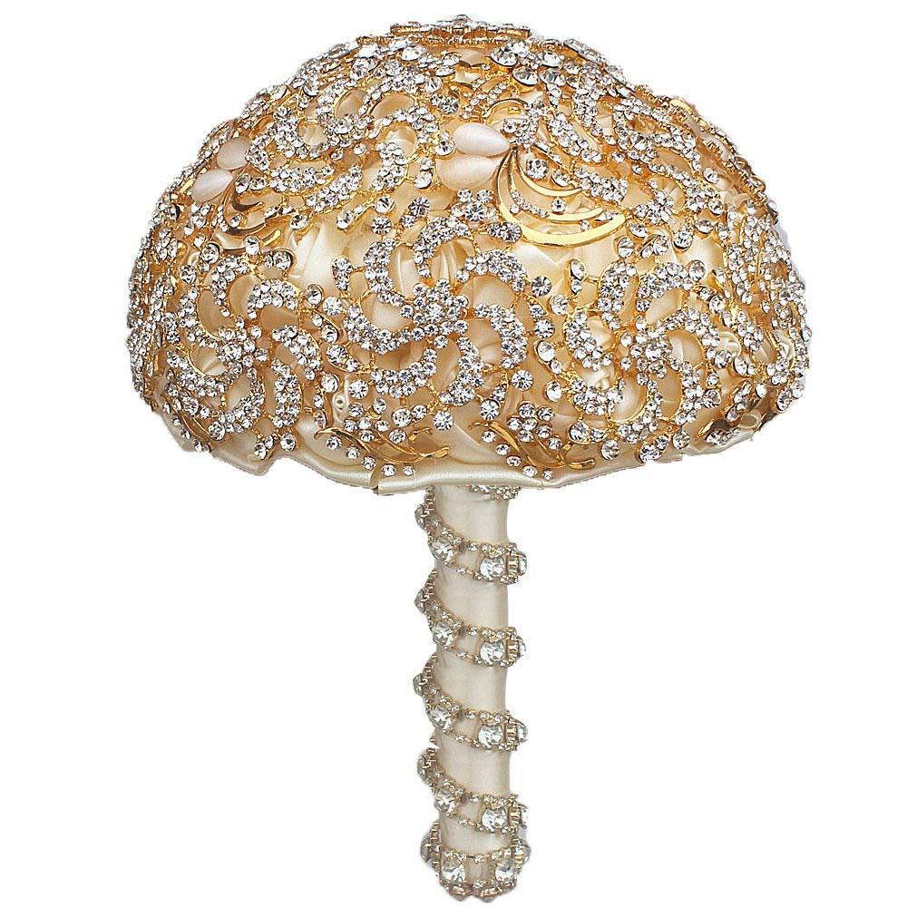 花を保持する 贅沢なシャンパンゴールドダイヤモンドブーケ、教会、結婚式、儀式 手作りウェディングブライダルブーケ B07M71JSPQ