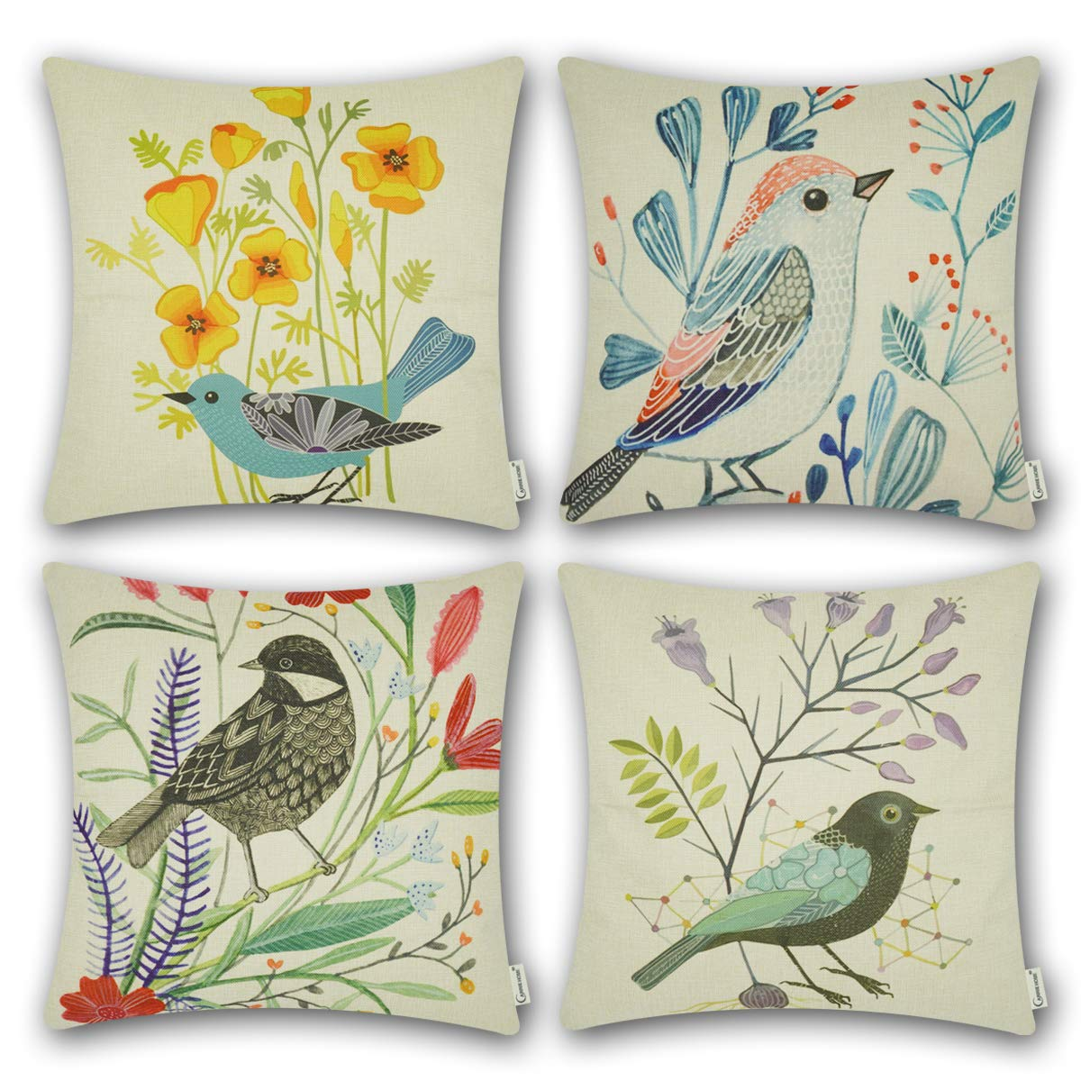 CARRIE HOME Bird Outdoor Throw Pillow Covers 18×18 Farmhouse Decorative Pillow Case Cushion Covers for Patio Furniture, Set of 4