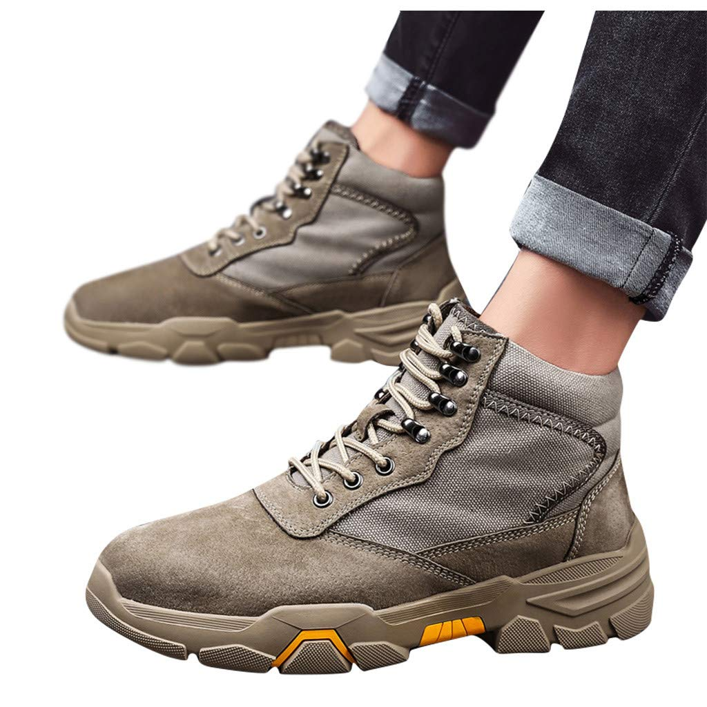 Men Boots Casual, HOSOME Men's Casual Outdoor Tube Velvet Wear Non-Slip Tooling Military Breathable Boots Khaki by HOSOME Men Shoes