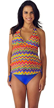 a7ceadcb70 Image Unavailable. Image not available for. Color: Prego Maternity Women's  Zig Zag Retro Halter Tankini ...