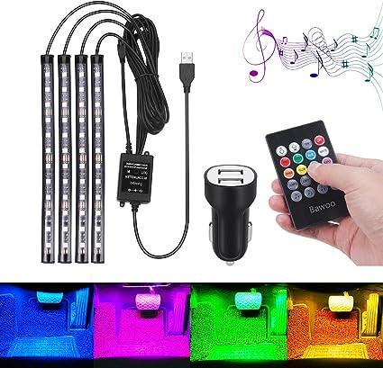 Lumi/ères de Bande de Voiture 48 LED Multicolore de Voiture LED Voiture Interieur Lampe USB Rubans Led D/écoration Lampe Atmosph/ère Lumi/ère Bandes T/él/écommande sans fil Musique Commande Vocale