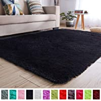 PAGISOFE Super Soft and Bright Colored Fluffy Shag Area Rugs and Carpets, Cute Decor, Cozy Accent, Shaggy Plush Living Room Carpets Bedroom Rugs Non Slip, 2x3 Black