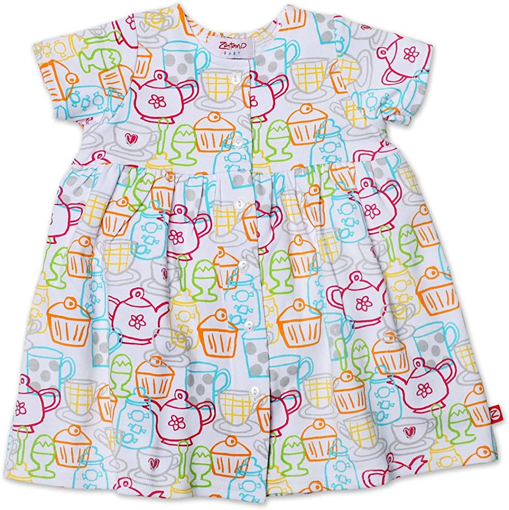 Zutano Baby Girls Cups And Cakes Short Sleeve Dress