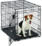 "MidWest Life Stages Heavy-Duty Folding Metal Dog Crates; Single Door & Double Door Dog Crates w/ Divider Panel, Floor Protecting ""Roller"" Feet & Leak-Proof Plastic Pan"