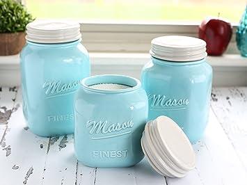 Mason Jar Kitchen Canister Set   Set Of 3 Kitchen Canisters   Large, Round  Ceramic