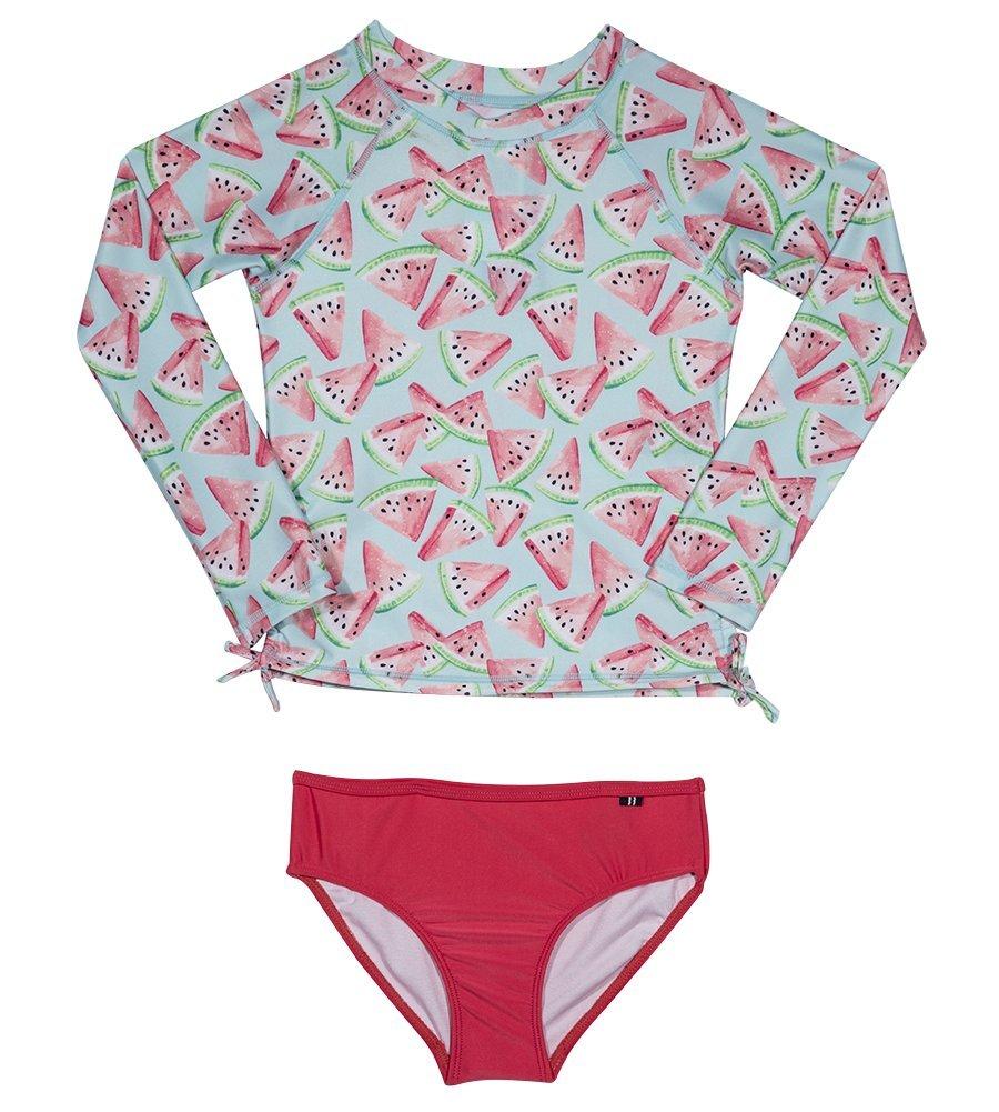 Nautica Toddler Girls' Fashion Rashguard Swim Suit Set with UPF 50+ Sun Protection, Watermelon Pink, 4T
