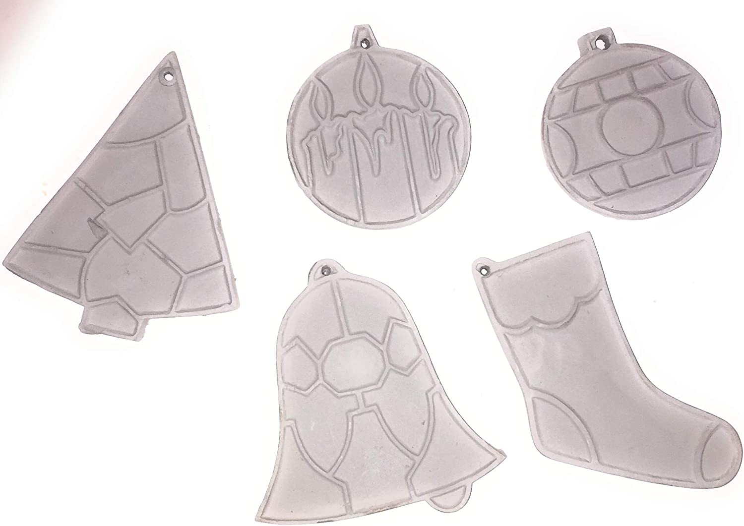 Ready to Paint Ceramic Bisque Christmas Ornaments Set of 5 3 in
