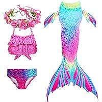 PaisDola Cola de Sirena niña para Nadar Incluido Traje de Sirena baño de Bikini de 3 Piezas y Diadema con guirnaldas de…