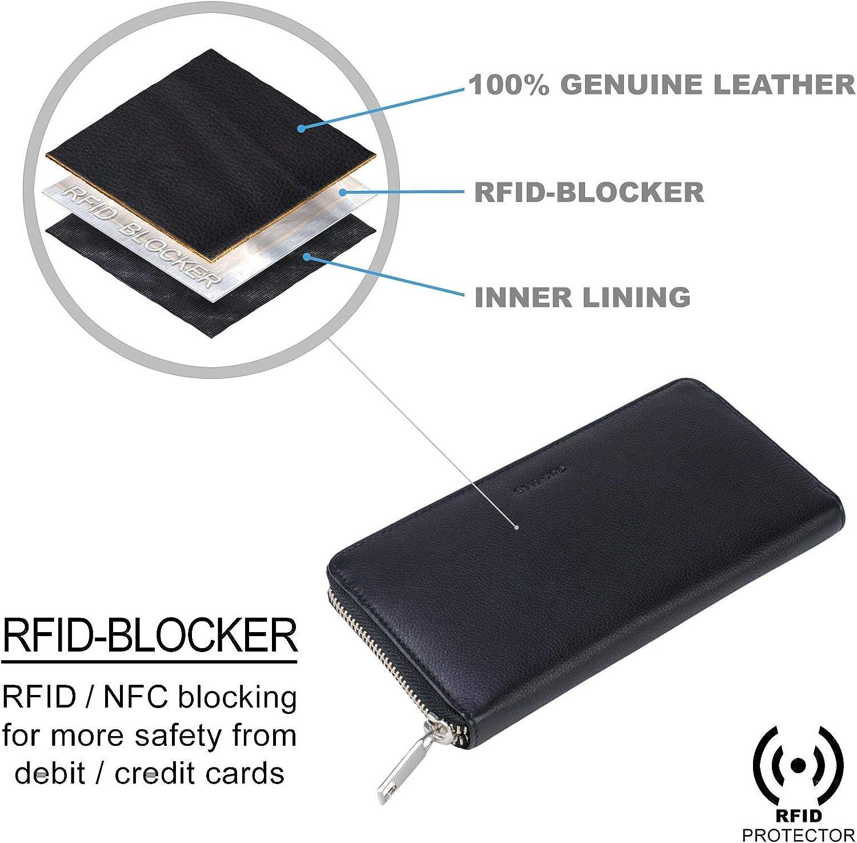 STILORD Emma Porte-Monnaie Femme Cuir Anti-RFID Portefeuille Grand Format Design Vintage avec Pochettes pour Cartes en Cuir V/éritable Couleur:Noir