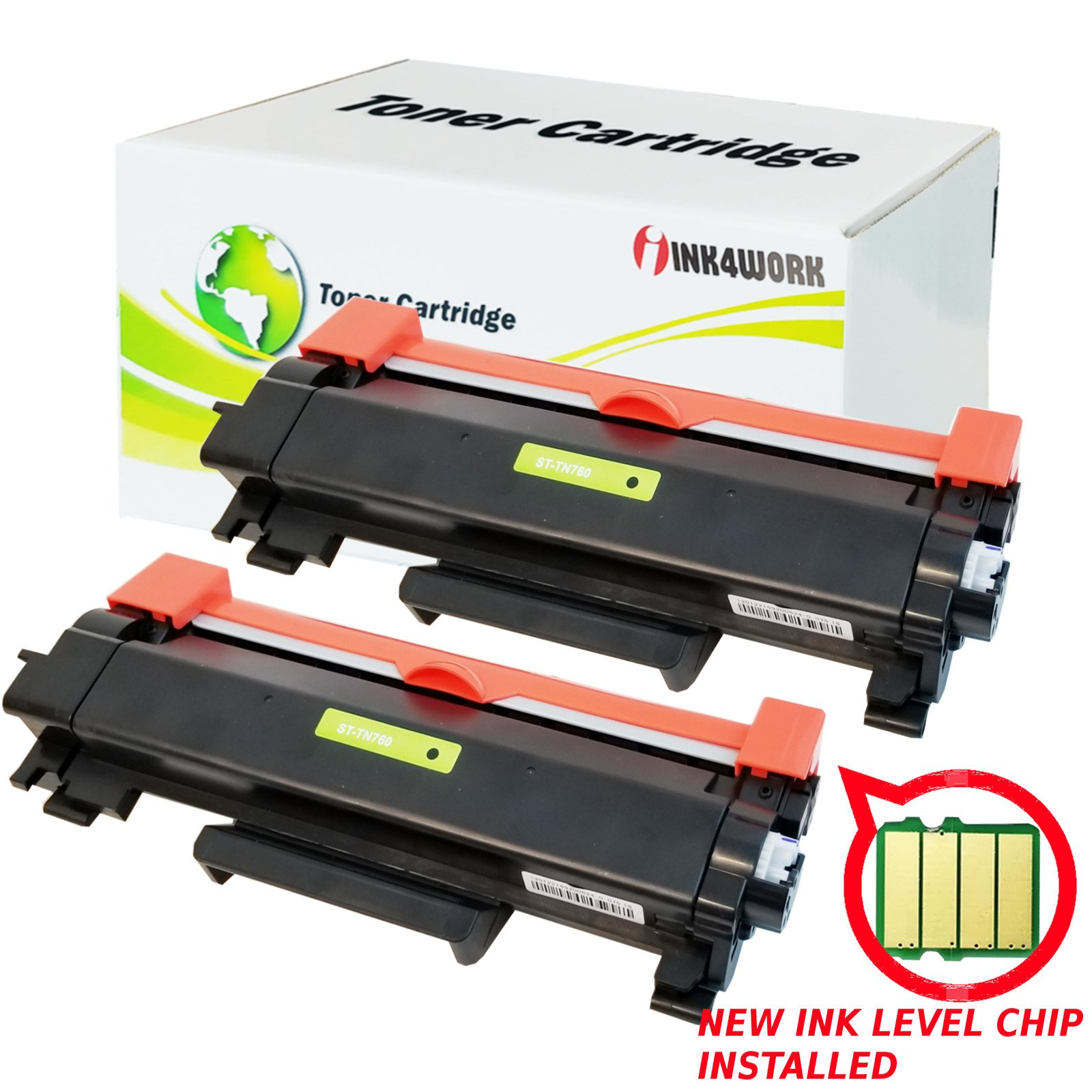 2 Pack INK4WORK (WITH CHIP) High Yield Compatible for Brother TN-760 TN730 TN760 HLL2395DW Toner Cartridge for Brother HL-L2350dw HL-L2370dw MFC-L2710dw DCP-L2550dw MFC-L2750dw HL2390DW printers