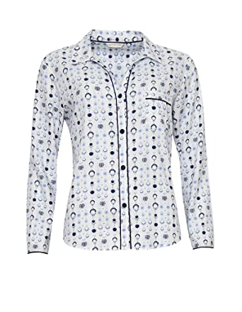 Women s Cyberjammies Josie Geo Print Pyjama Tops - White Blue - 10 6d7810b40