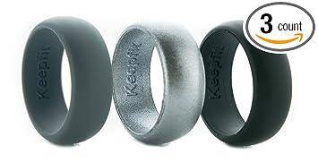 3 silicone wedding ring silicone wedding band for men metallic ring set for crossfit climbing - Sports Wedding Rings