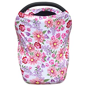 Baby Car Seat Canopy Extra Soft and Stretchy Purple and Pink Floral Nursing Cover