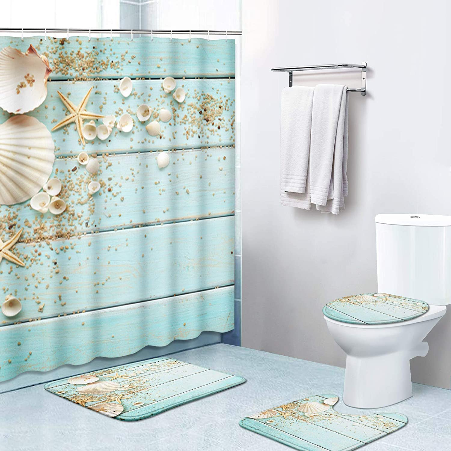 Britimes 4 Piece Shower Curtain Sets, with 12 Hooks, Seashells Wooden with Non-Slip Rugs, Toilet Lid Cover and Bath Mat, Durable and Waterproof, for Bathroom Decor Set, 72