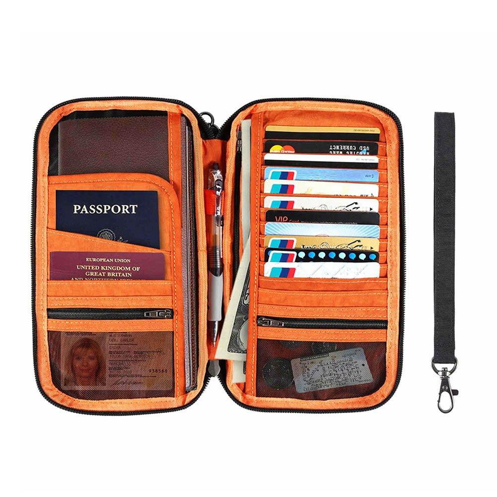 96599b3c34e2 IntiPal RFID Blocking Passport Wallet - Waterproof Document Organizer  Credit Card Travel Wallet, Family Passport Holder with Removable Wristlet  Strap
