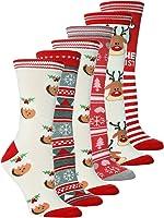 NEW Ladies 6 Pair Pack Novelty Festive Christmas Socks Size 4-8 Uk, 37-42 Eur