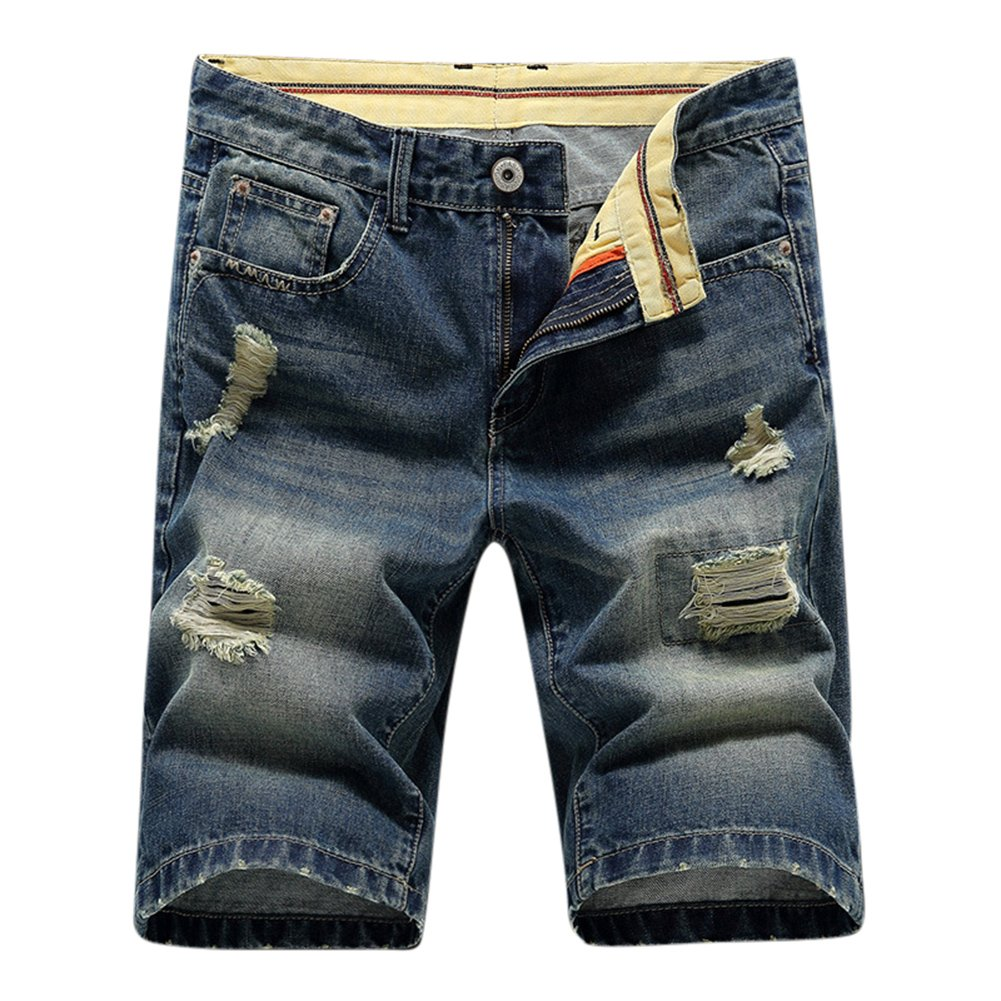 Men's Fashion Casual Bleached Denim Ripped Mid Waist Jeans Shorts 29