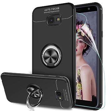 LeYi Compatible with Funda Samsung Galaxy J4 Plus con Anillo Soporte, 360 Grados Giratorio Ring Grip con Kickstand Gel TPU de Silicona Bumper Case ...