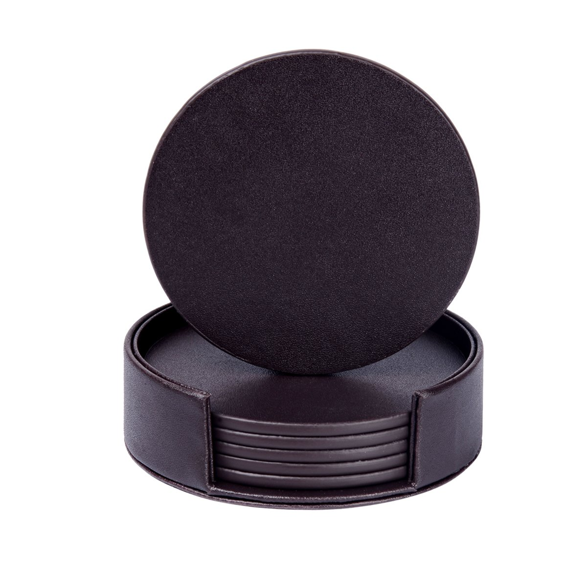 Leather Coasters Set of 6 with Holder,Round Cup Mat Pad for Home and Kitchen Use (Black)