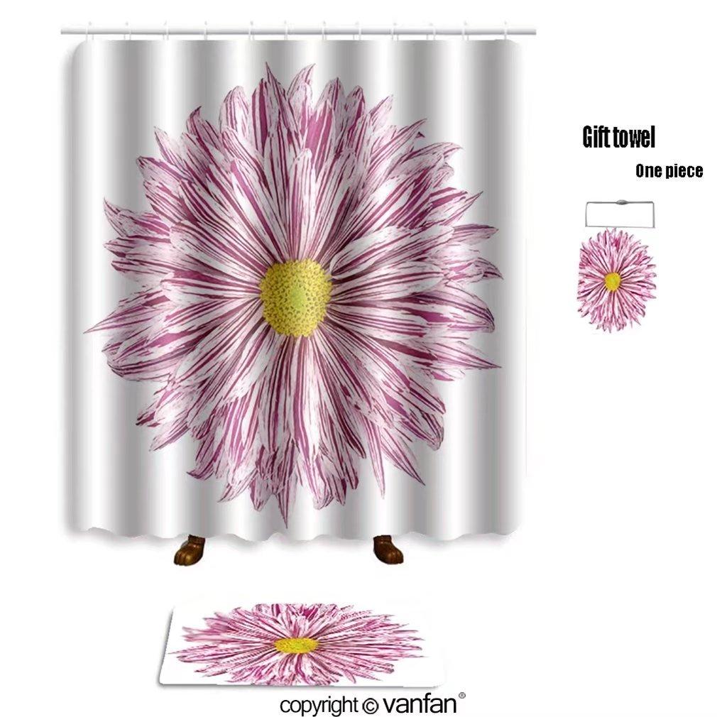 vanfan bath sets with Polyester rugs and shower curtain chrysanthemum flower white and purple petals shower curtains sets bathroom 72 x 84 inches&31.5 x 19.7 inches(Free 1 towel and 12 hooks)
