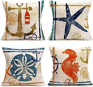Qinqingo Nautical Theme Farmhouse Decorative Throw Pillow Cover 4 Pcs Anchor Starfish Sand Dollar Sea Horse Ocean Sign Summer Decoration Home Decor Cushion Case for Sofa Couch, 18