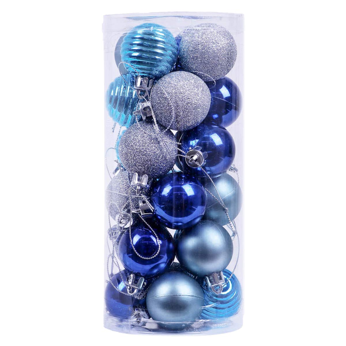 V&M VALERY MADELYN 24ct 40mm Winter Wishes Blue Silver Shatterproof Christmas Ball Ornaments Decoration with String Pre-Tied,Themed with Tree Skirt(Not Included) EG0101-0032
