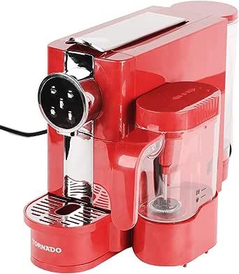 ماكينة تحضير كبسولات قهوة اسبريسو بأداة صنع رغوة الحليب  من تورنيدو TCMN-C65R - احمر