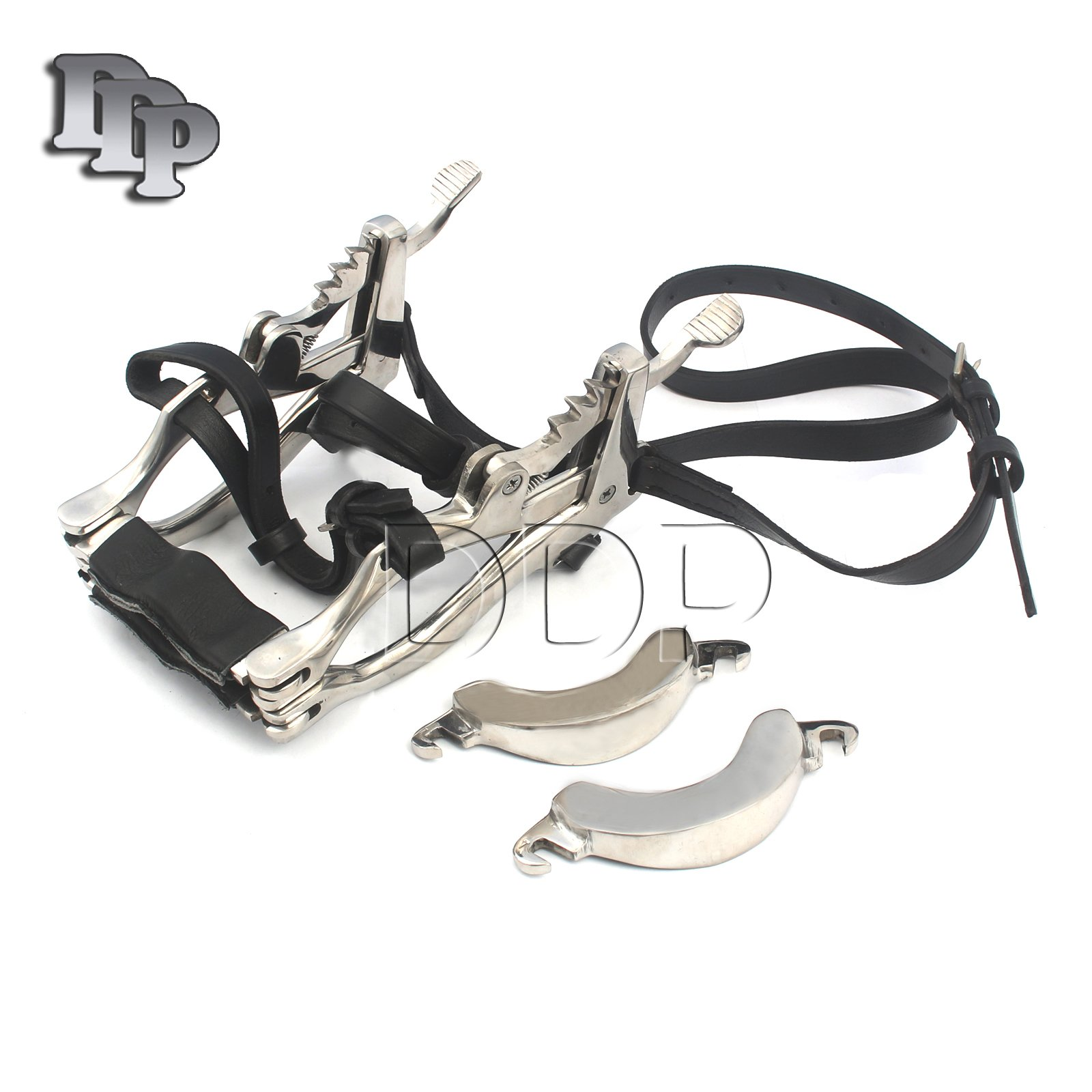 DDP EQUINE HORSE DENTAL MOUTH GAG SPECULUM STAINLESS STEEL WITH LEATHER STRAPS SERIES 2000 MILLENIUM DENTISTRY VETERINARY BITS CUPS UPPER LOWER JAWS