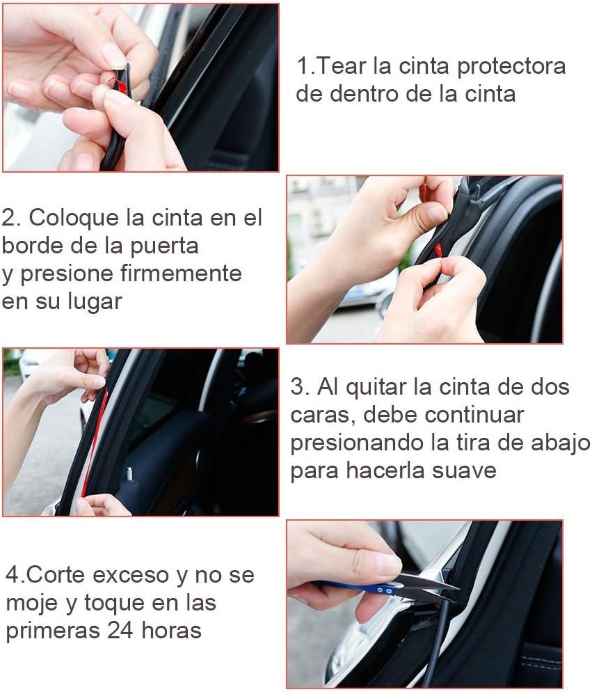 Rovtop 10M Protecci/ón de goma de puerta de coche Protecci/ón de frontera Cintur/ón para evitar ara/ñazos Marco de puerta de metal Junta de goma de goma negro
