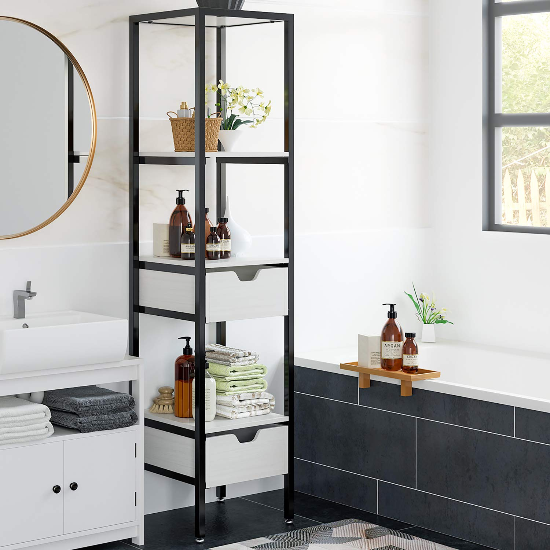 Homfa bathroom standing shelf 4 tier shelf rack with 2 drawers multipurpose corner square storage organizer modern furniture for bathroom home kitchen