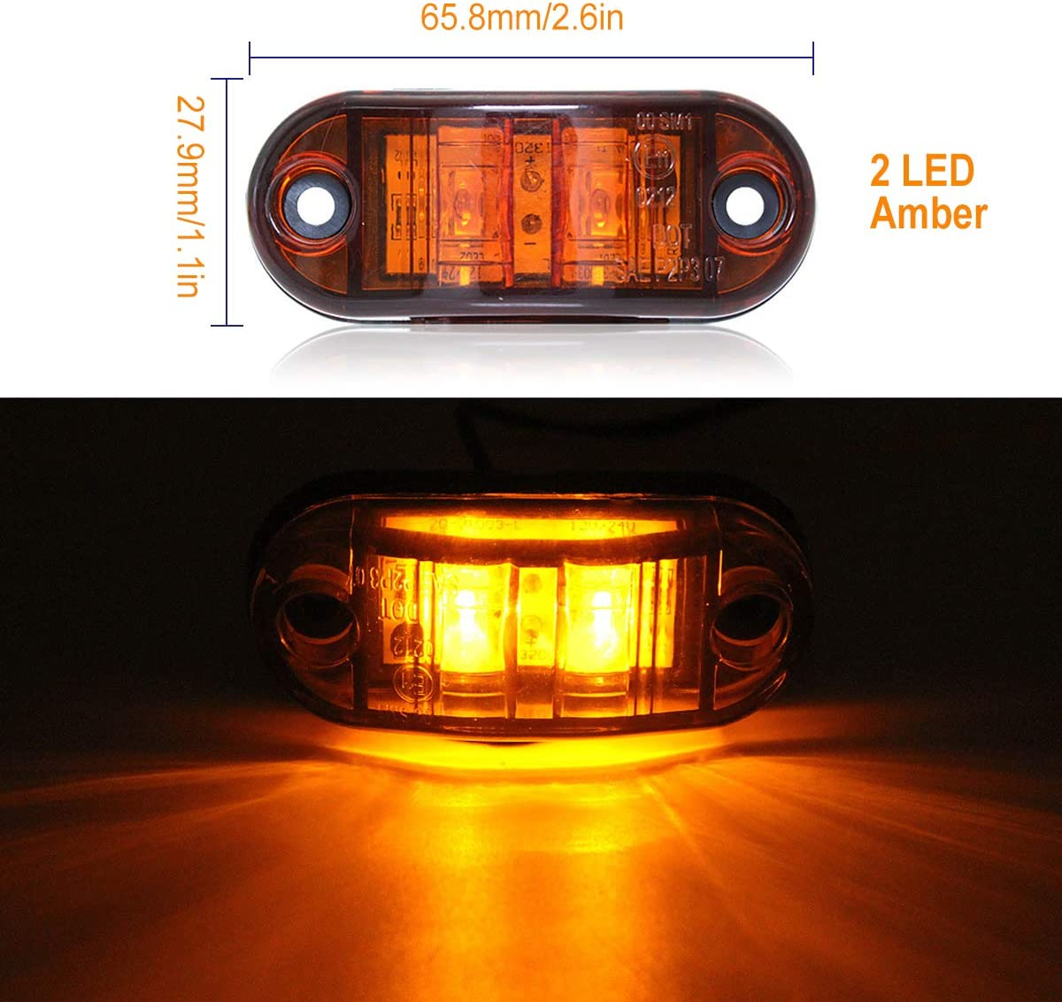 FICBOX 6Pcs Side Marker Light 2.6 2 Diode Oval LED Clearance Light For Trailer Truck Amber